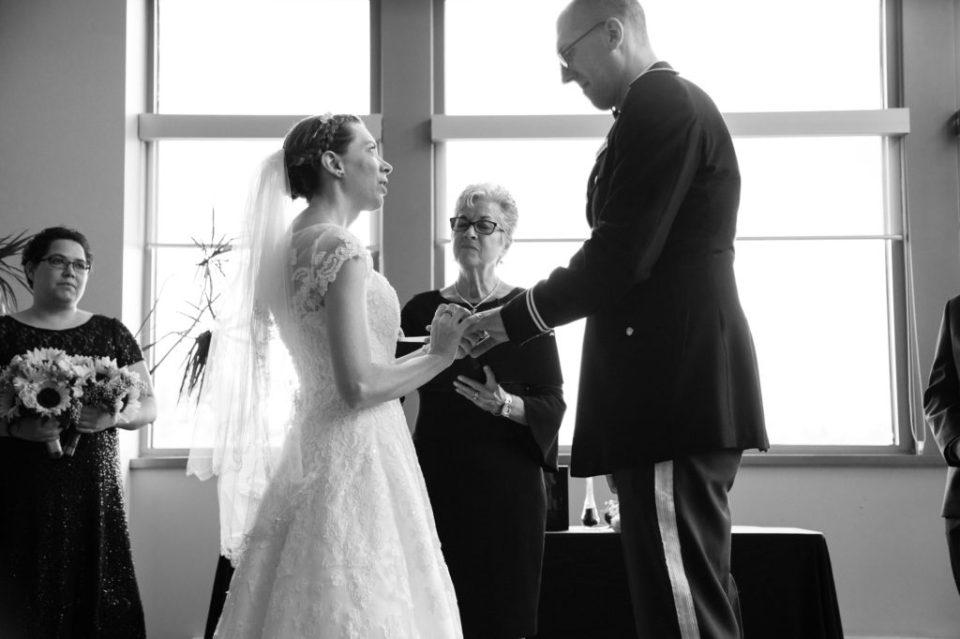 Couple exchanges vows during wedding at Edinboro University