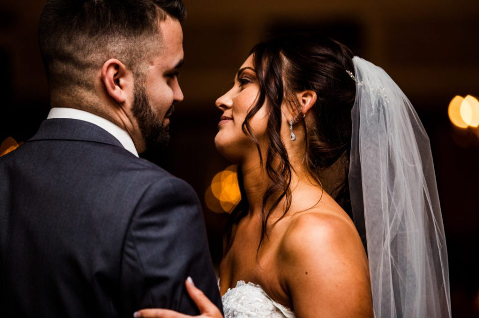 Bride and groom share first dance at downtown Erie wedding