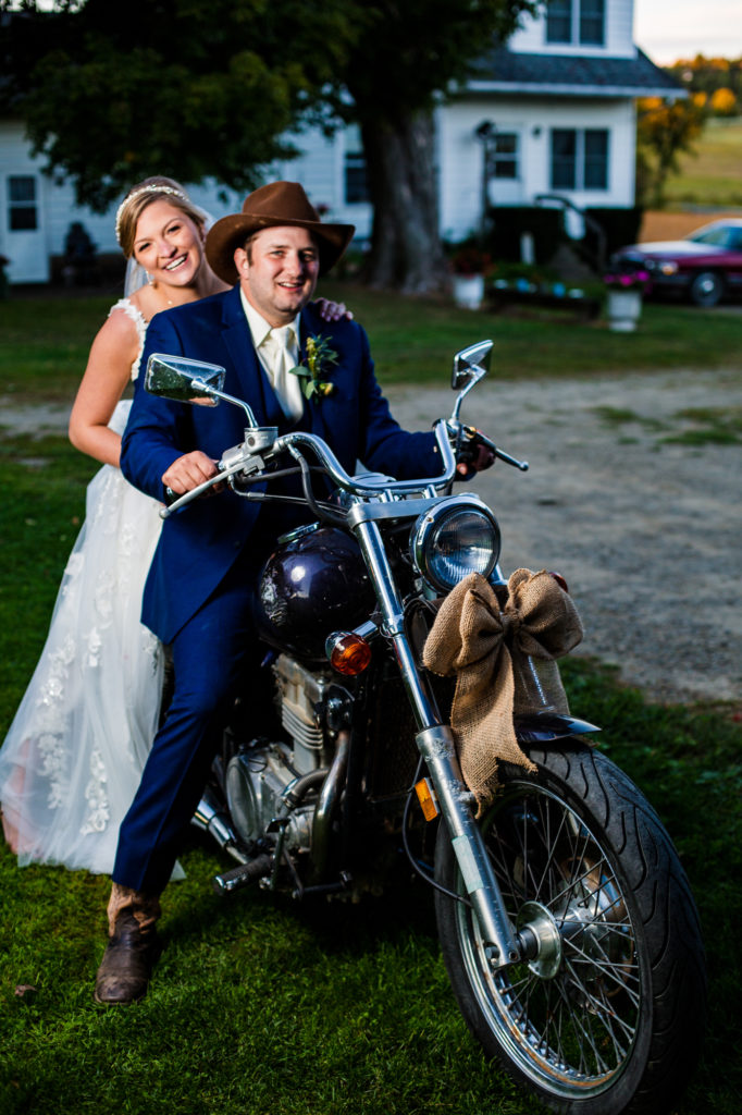 Waterford PA bride and groom seated on motorcycle received as wedding gift