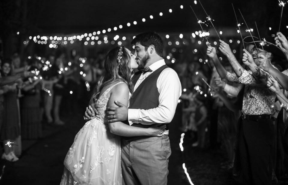 Sparkler send off at Whispering Trees Manor wedding