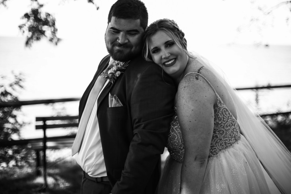 Smiling bride and groom at Beach Glass Estates wedding