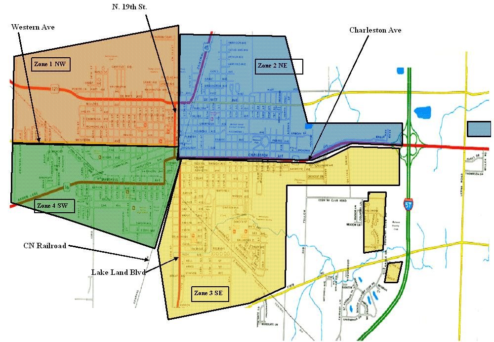 Different colored, transparent shapes over a map of the City of Mattoon indicating the different leaf collection zones.