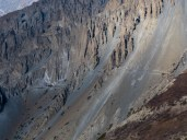 The landslide area on the side trek to Tilicho Base Camp
