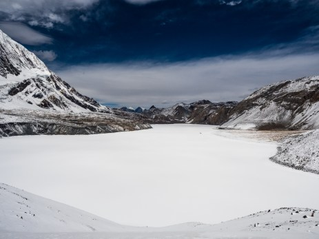 Tilicho Lake - 5,020m - frozen over and covered in snow, just beautiful