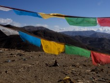 Prayer flags atop one of the passes en route to Mt Everest base camp
