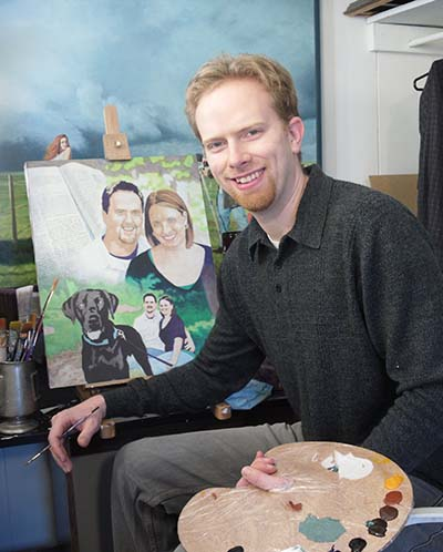 Portrait artist Matt Philleo painting a custom portrait from a client's photo.