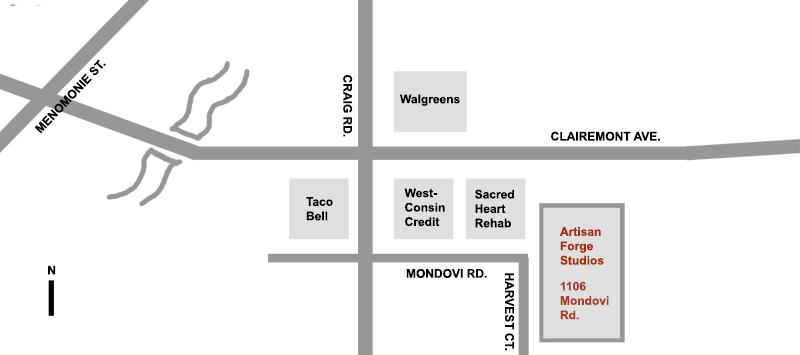 Artisan Forge Studios Map, 1106 Mondovi Rd, Eau Claire, WI