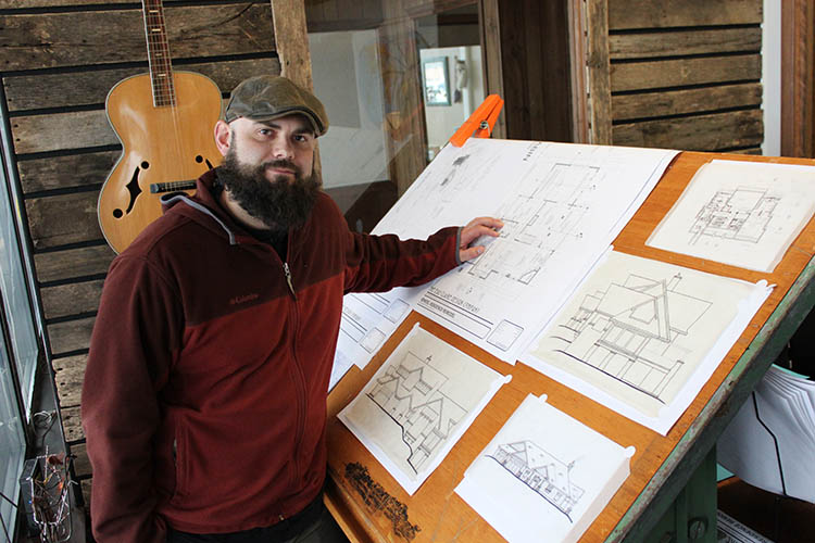 Architect Chad White of The Eau Claire Design Company in his office at Artisan Forge Studios, Eau Claire, WI