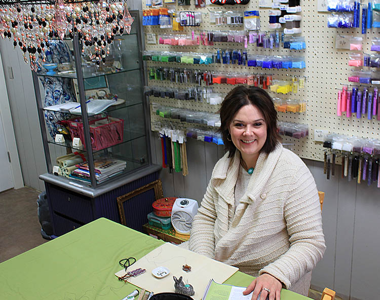 Ilana Vocke, owner of Ilana's Bead Shop, LLC, at Artisan Forge Studios, Eau Claire, WI