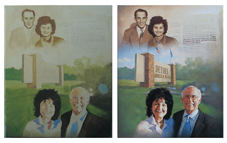 Before and After: Portrait of Pastor and Mrs. Palser, acrylic on canvas