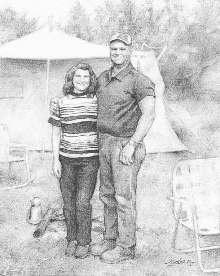 """Good Old Fashioned Camping,"" 11 x 14 pencil on paper, by Matt Philleo"