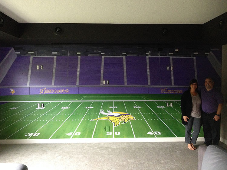 The completed US Bank Stadium Mural, 8' x 18', at Jim C's residence, Lakeville, MN