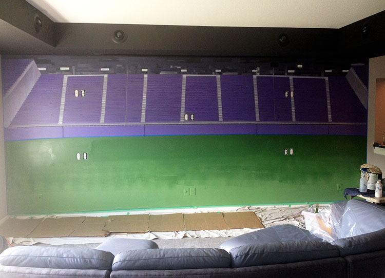 US Bank Stadium Mural, 8' x 18' Jim C's home, Lakeville, MN, in progress, green added