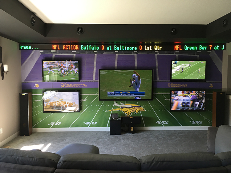 US Bank Stadium hand-painted custom mural at Jim C's residence, Lakeville, MN. 8' x 18'