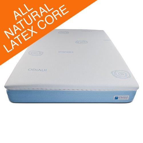 Invigo Fresh 100 Percent All Natural Latex 3 Inch Mattress Topper With Exclusive Benefits White News