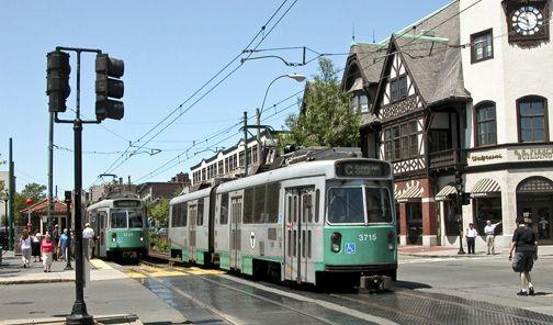 Brookline Massachusetts streetcar view