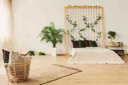 Eco friendly bedroom with floor bed