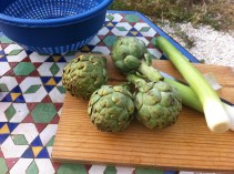 Artichokes and leeks