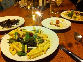 Squid and manzanilla and pasta salad (we'd eaten most of the squid)