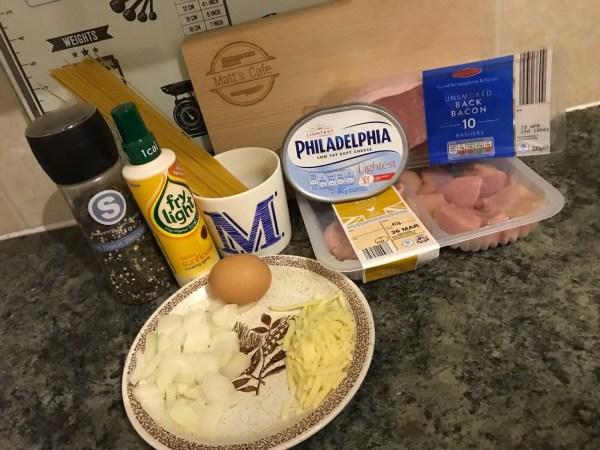 Slimming World Syn Free Chicken Spaghetti Carbonara - ingredients
