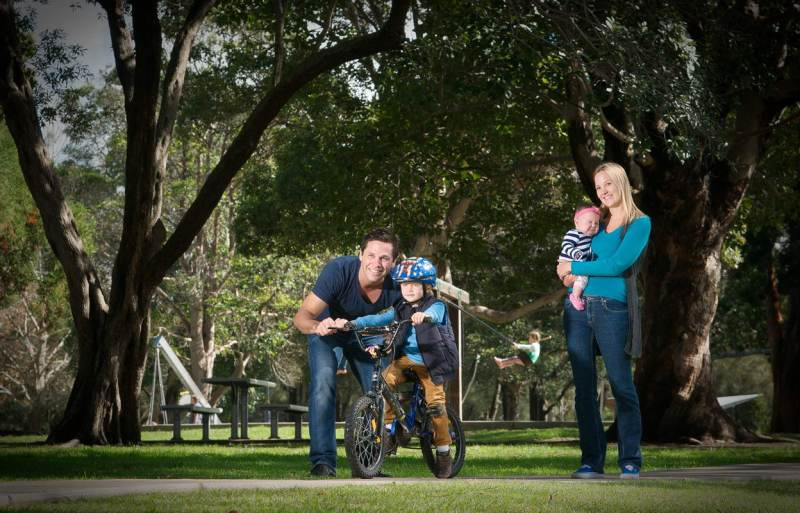 Family portrait with kids outdoors or in studio