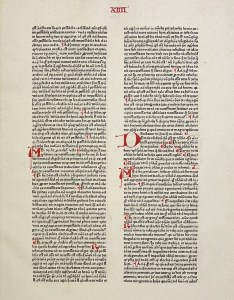 Page fromSumma theologica, pars secunda, primus liber, printed in Mainz by Peter Schöffer, 1471.