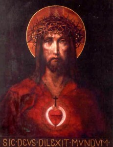An image of Jesus depicting his Sacred Heart, the Crown of Thorns, and the marks of the Crucifixion