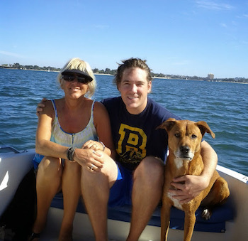 Mom, Matt, Tyson on Boat