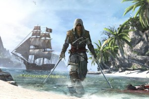 assassin's creed 4 black flag pirate with ship in water