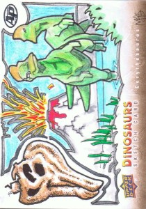 Upper Deck 2015 Dinosaurs artist return sketch card of a Corythosaurus