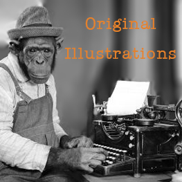 monkey at a type writer with text that says original illustrations
