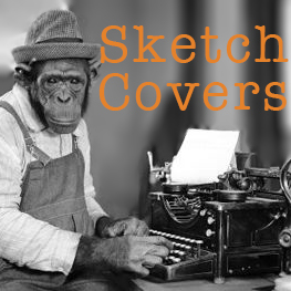 monkey at a type writer with text that says sketch covers
