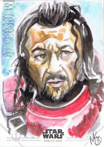 Star Wars Rogue One Series Two sketch card Baze Malbus