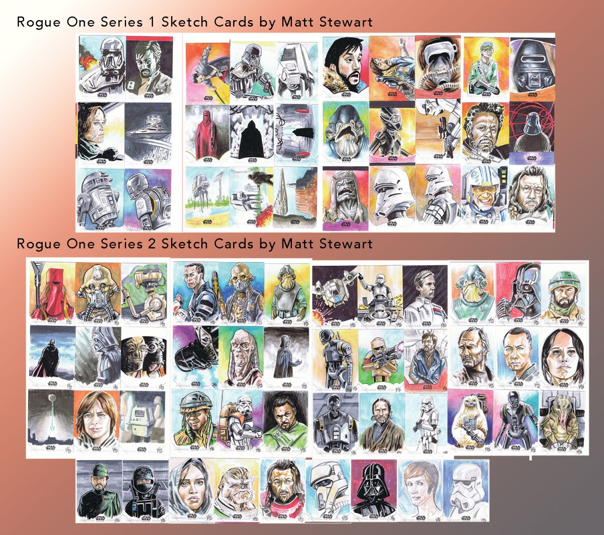 All of my Topps Rogue One Sketch Cards