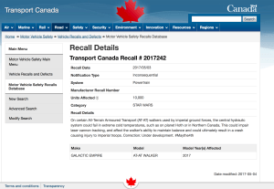 transport canada recall notice on star wars day 2017