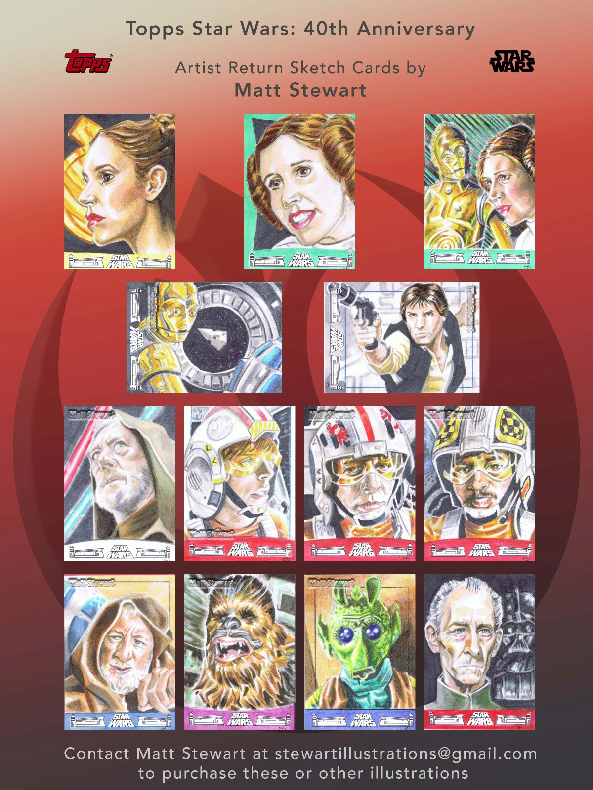 topps star wars 40th anniversary artist return sketch cards images of all 13 drawings