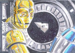 sketch card of C3P0 and R2D2 Escape