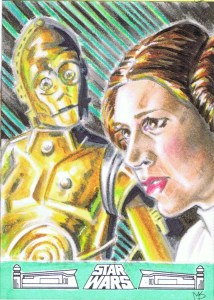 princess leia & C3P0 artist return sketch card