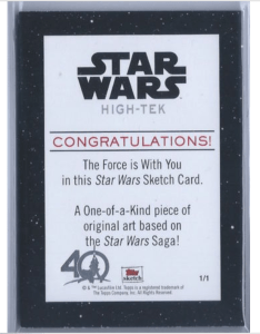 backside of 40th anniversary star wars buy back sketch card