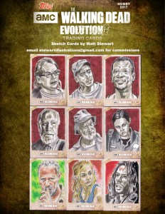 walking dead character sketch cards drawn by matt stewart