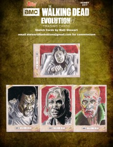 more character sketch cards for walking dead evolution by topps drawn by matt stewart