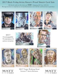 terminator 2 and walking dead artist return sketch cards by matt stewart