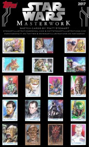 sample sheet of sketch cards drawn by matt stewart for star wars masterwork