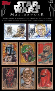 example sheet of wood and booklet sketch cards from star wars masterwork 2017 drawn by matt stewart
