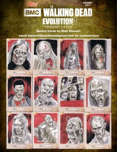 examples of walker sketch cards drawn by matt stewart
