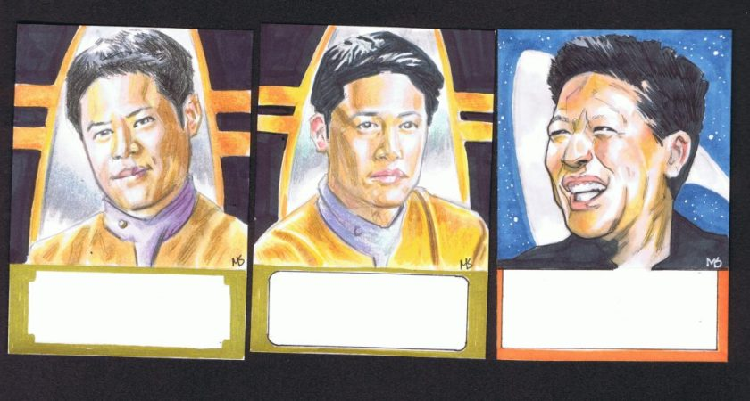 three garrett wang sketch cards drawn by matt stewart