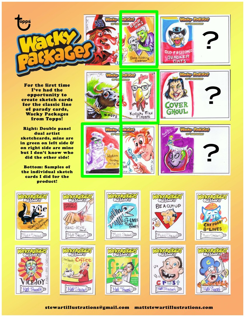 wacky packages 50th anniversary sketch cards drawn by matt stewart 2017