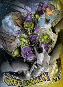 Incredibly detailed sketch card by Julio Nar of the green goblin