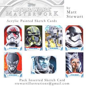 sketch cards by matt stewart for star wars masterwork trading cards
