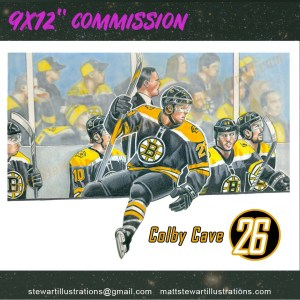 Colby Cave in Bruins uniform Illustration Commission hand drawn by matt stewart